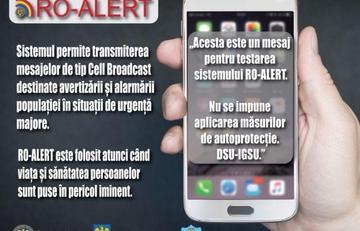 """Sistemului de avertizare a populației în situații de urgență """"RO – ALERT""""."""